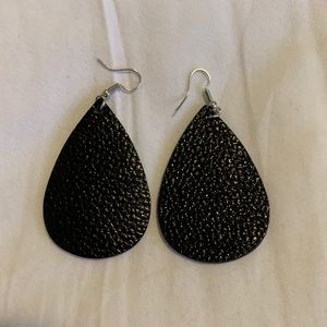 Black vegan leather teardrop earrings
